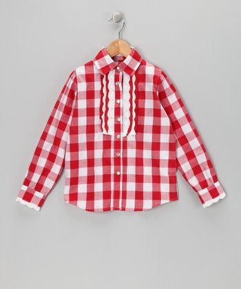 Red Plaid Eyelet Top - Toddler & Girls