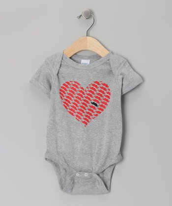 Athletic Heather Gray Heart Mustache Bodysuit - Infant