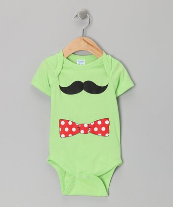 Key Lime Bow Tie Mustache Bodysuit - Toddler
