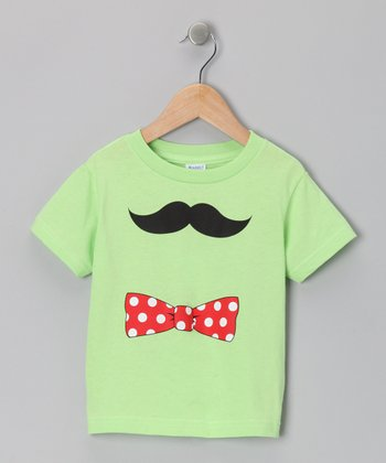 Key Lime Bow Tie Mustache Tee - Toddler & Kids