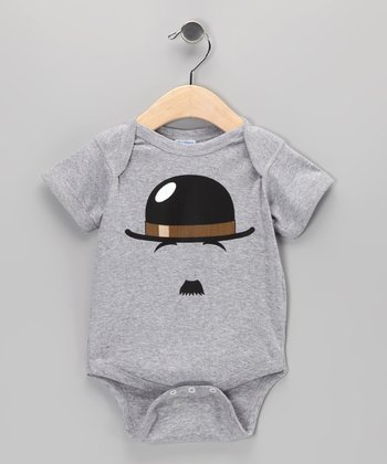 Heather Gray Chaplin Mustache Bodysuit - Infant