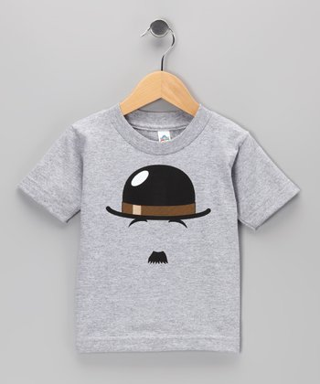 Heather Gray Chaplin Mustache Tee - Toddler & Kids