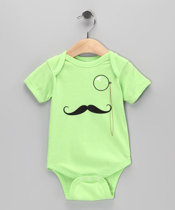 Key Lime Monocle Mustache Bodysuit - Infant