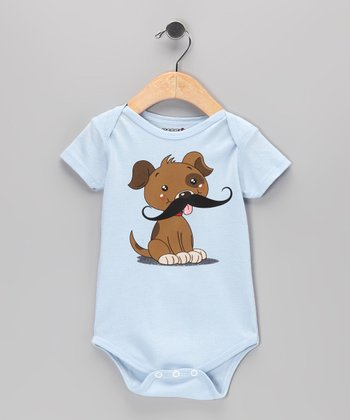 Light Blue Puppy Mustache Bodysuit - Infant