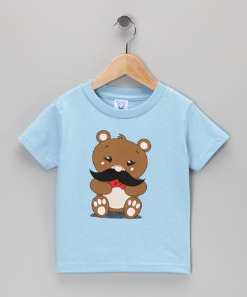 Light Blue Teddy Bear Mustache Tee - Toddler & Kids