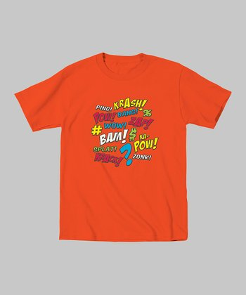 Orange 'Krash Bang Pow' Tee - Toddler & Kids