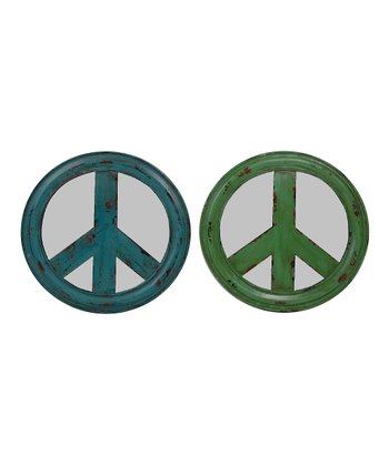 Blue & Green Peace Mirror Set