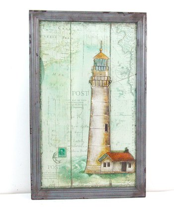 Gray Frame Lighthouse Wood Wall Art
