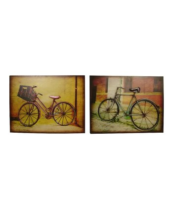 Pink & Green Bicycle Wall Art Set