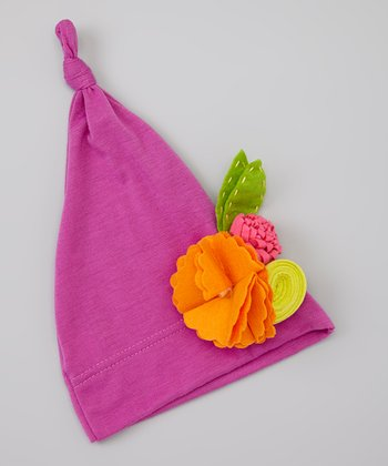 Lilac & Orange Flower Knot Beanie