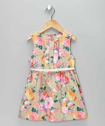 Beige & Pink Flower Belted Dress - Toddler & Girls