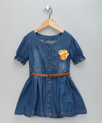 Blue Denim Flower Dress & Belt - Toddler & Girls
