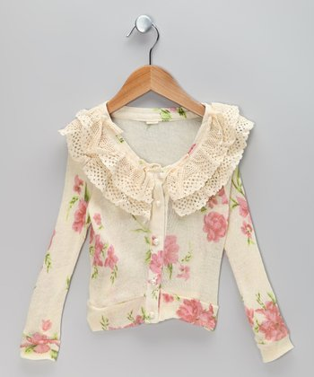 Ivory & Pink Floral Lace Cardigan - Infant, Toddler & Girls