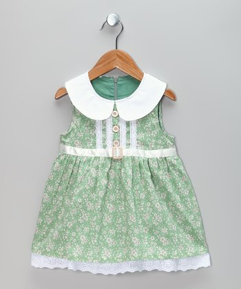 Green & White Flower Dress - Infant & Toddler