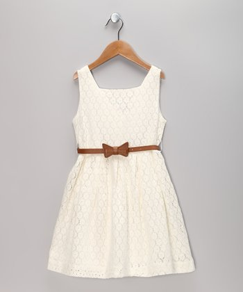 White Lace Dress & Belt - Toddler & Girls