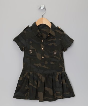 Green Camo Shirt Dress - Toddler & Girls