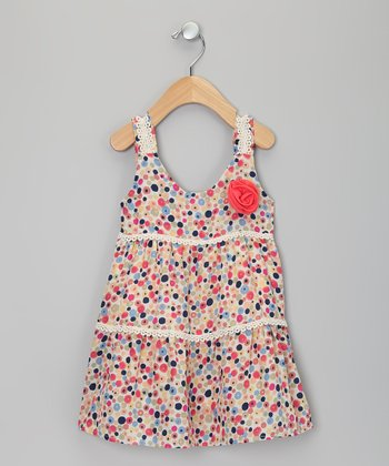 Pink & Blue Polka Dot Dress - Toddler & Girls