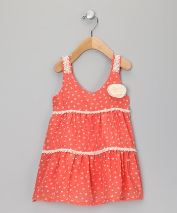 Coral & Cream Polka Dot Dress - Toddler & Girls