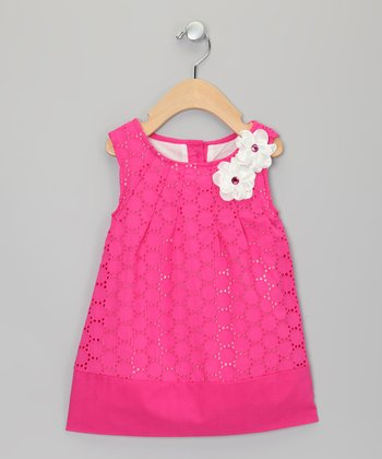 Pink Daisy Lace Dress - Toddler & Girls