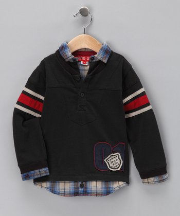 Black Plaid Layered Polo - Toddler & Boys