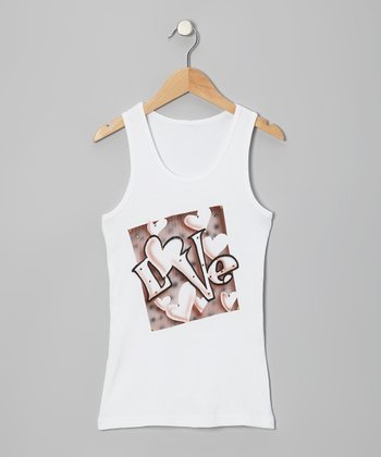 White 'Love' Tank - Toddler & Girls
