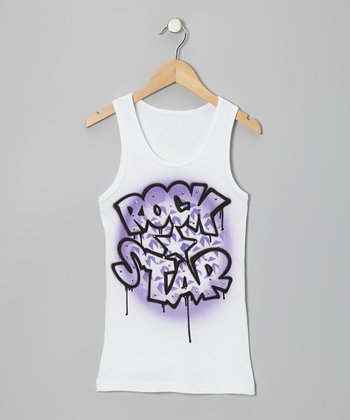 White & Purple 'Rock Star' Tank - Toddler & Girls