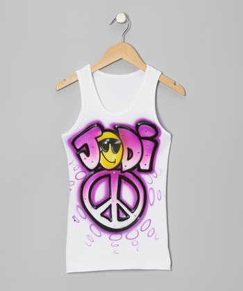 White & Magenta Peace Personalized Tank - Toddler & Girls