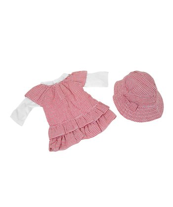 Gingham Summer Dress, Tee & Hat Doll Clothes Set