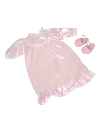 Nightgown & Slippers Doll Clothes Set