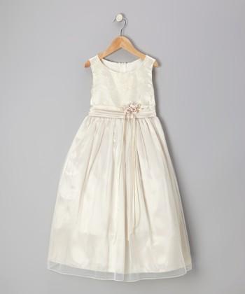 Champagne Floral Ribbon Sash Dress - Girls
