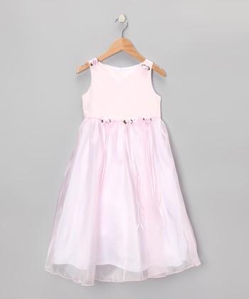 Pink Satin Organza Dress - Girls
