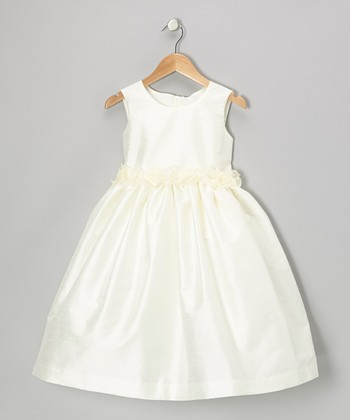 Ivory Rosette Organza Dress - Infant, Toddler & Girls