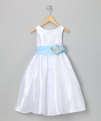 White & Blue Flower Dress - Toddler & Girls