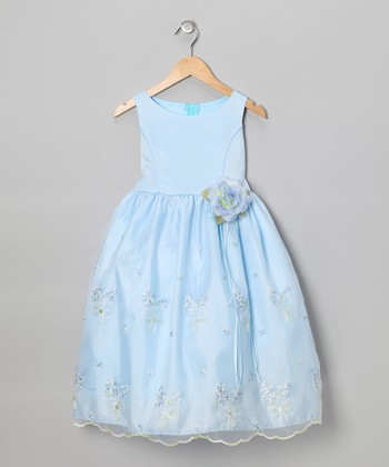 Blue Embroidered Floral Dress - Infant, Toddler & Girls