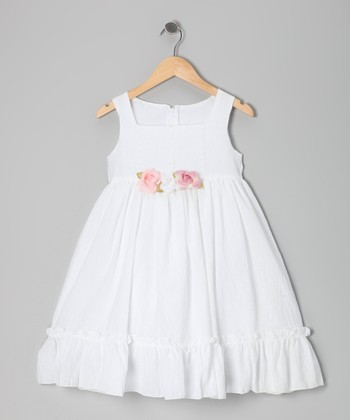 White & Pink Flower Dress - Infant, Toddler & Girls