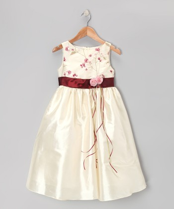 Ivory & Burgundy Dress - Infant, Toddler & Girls