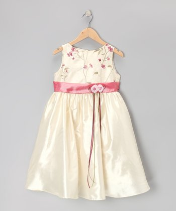 Ivory & Rose Embroidered Floral Dress - Infant, Toddler & Girls