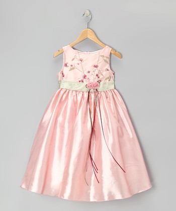 Pink & Sage Embroidered Floral Dress - Infant, Toddler & Girls