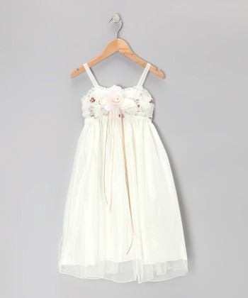 Ivory & Brown Rose Dress - Toddler & Girls