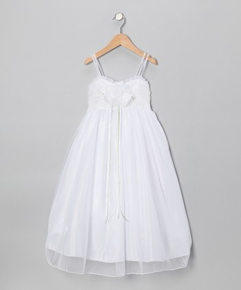 Winter White Flower Empire-Waist Dress - Toddler & Girls