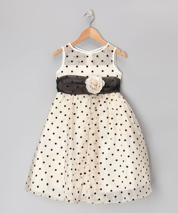 Champagne & Black Polka Dot Dress - Toddler & Girls