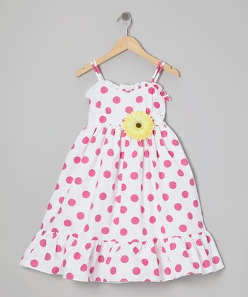 White & Fuchsia Polka Dot Dress & Daisy Pin - Toddler & Girls