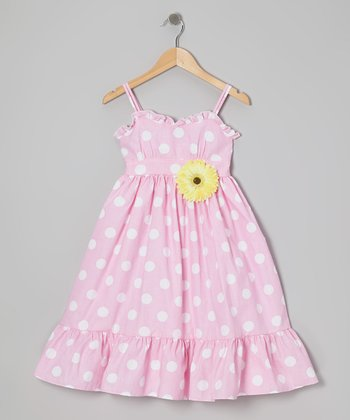 Pink & White Polka Dot Dress & Daisy Pin - Toddler & Girls