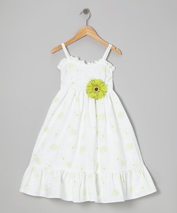 White & Lime Floral Dress & Daisy Pin - Toddler & Girls