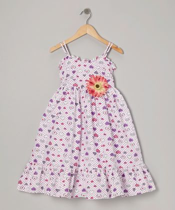 White & Purple Hearts Dress & Daisy Pin - Toddler & Girls