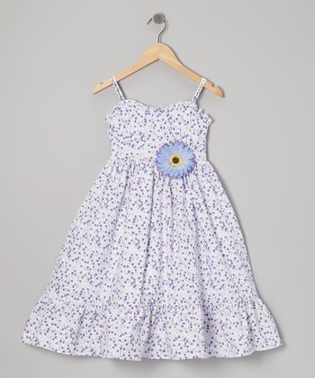 Purple & White Floral Dress & Daisy Pin - Toddler & Girls
