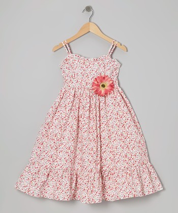 White & Red Floral Dress & Daisy Pin - Toddler & Girls