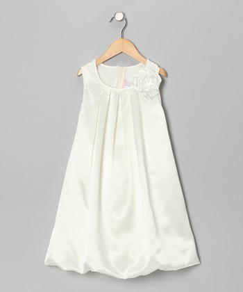 Ivory Satin Bubble Dress - Toddler & Girls