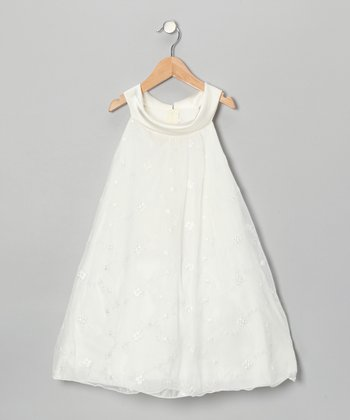 Ivory Embroidered Swing Dress - Toddler & Girls