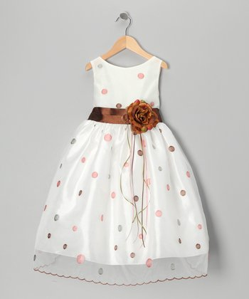 Brown & Silver Polka Dot Flower Dress - Toddler & Girls